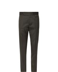 Caruso Slim Fit Tapered Pleated Wool Blend Twill Trousers