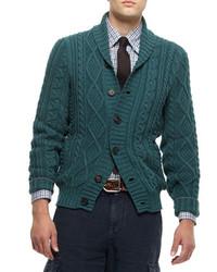 Buttoned shawl collar cardigan green medium 115063
