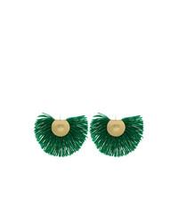 Katerina Makriyianni Green Fringed Earrings