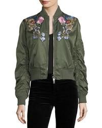 Dark Green Floral Bomber Jacket
