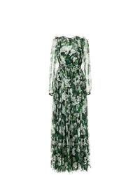 Dolce & Gabbana White Geranium Printed Maxi Dress