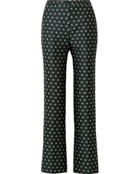Dark Green Floral Flare Pants