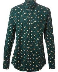 Dark Green Floral Long Sleeve Shirt