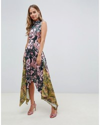 ASOS DESIGN Mixed Print Midi Dress With Hanky Hem And Lace Up Back