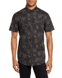 Dark Green Floral Short Sleeve Shirt