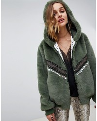Native Rose Oversized Faux Fur Bomber With Hood And Embellisht Detail