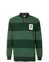 Dark Green Horizontal Striped Polo Neck Sweater