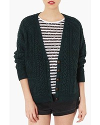 Dark Green Knit Cardigan