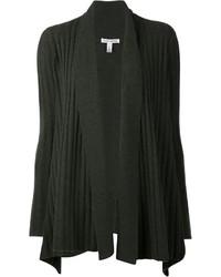Dark Green Knit Open Cardigan