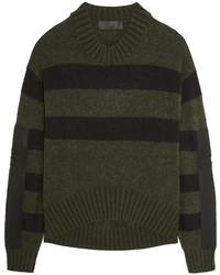 Oversized striped knitted sweater dark green medium 838712
