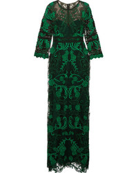Dark Green Lace Evening Dress
