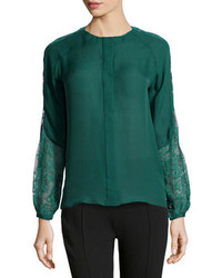 Dark Green Lace Long Sleeve Blouse