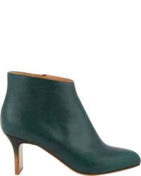 Dark Green Leather Ankle Boots
