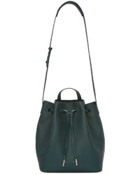 Dark Green Leather Bucket Bag