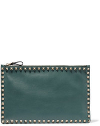Valentino The Rockstud Leather Pouch Forest Green
