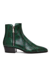 Dark Green Leather Cowboy Boots