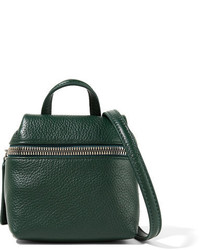 Kara Micro Textured Leather Shoulder Bag Forest Green