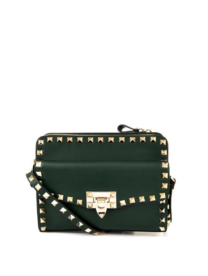 COM › Valentino › Dark Green Leather Crossbody Bags Valentino Rockstud  Removable Pouch Cross Body Bag ... 7fd61eff61ea