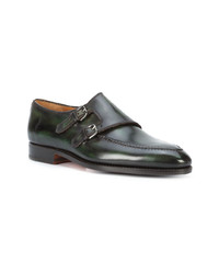 Dark Green Leather Double Monks
