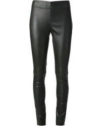 Dark Green Leather Leggings
