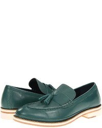 Dark Green Leather Loafers