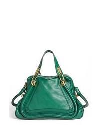 Dark Green Leather Satchel Bag