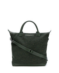 Dark Green Leather Tote Bag