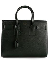 Dark Green Leather Tote Bag