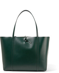 Tie leather tote emerald medium 954120