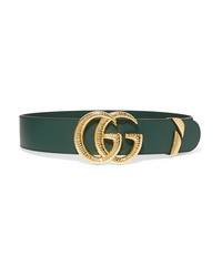 Dark Green Leather Waist Belt