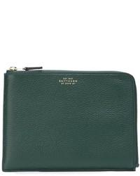 Dark Green Leather Zip Pouch