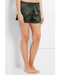 ... Stella McCartney Ellie Leaping Leopard Print Stretch Silk Pajama Shorts  Dark Green 6318e51e6