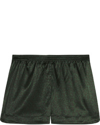 Stella McCartney Ellie Leaping Leopard Print Stretch Silk Pajama Shorts Dark Green
