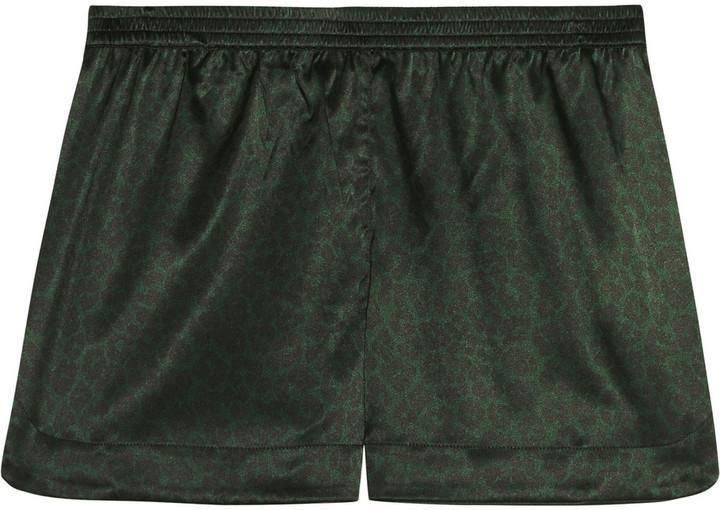 ... Stella McCartney Ellie Leaping Leopard Print Stretch Silk Pajama Shorts  Dark Green ... d494268eb