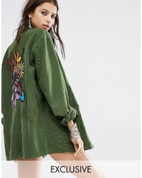 Milk It Vintage Oversized Military Shirt Jacket With Jungle Snake Back Panel Embroidery