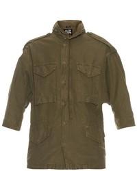 Oversized cotton blend military jacket medium 681074