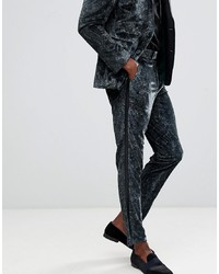 ASOS DESIGN Skinny Tuxedo Suit Trousers In Forest Green Paisley Print