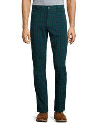 Dark Green Plaid Chinos