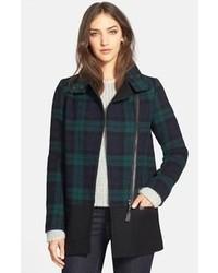 Berta asymmetrical wool blend plaid coat medium 88894