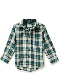 Dark Green Plaid Long Sleeve Shirt