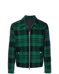 Dark Green Plaid Shirt Jacket