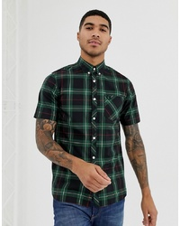 Fred Perry Short Sleeve Check Shirt In Green
