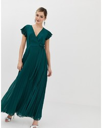 ASOS DESIGN Pleated Maxi Dress With Flutter Sleeve
