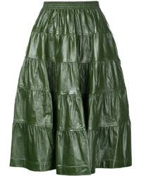 Dark Green Pleated Leather Midi Skirt