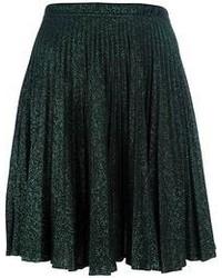 Dark Green Pleated Midi Skirt