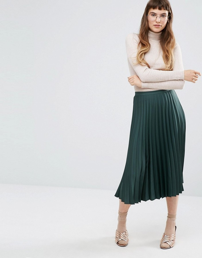 d286d1efd1e9 ... Dark Green Pleated Satin Skirts Miss Selfridge Satin Crepe Pleated Midi  Skirt ...