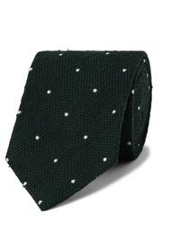 Drake's 8cm Embroidered Polka Dot Slub Silk Tie