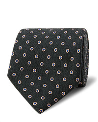 Dark Green Polka Dot Wool Tie