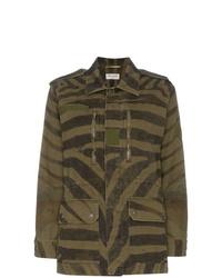 Saint Laurent Zebra Print Parka Coat