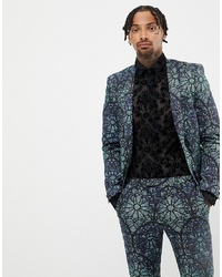 Twisted Tailor Super Skinny Suit Jacket With Geo Print In Green